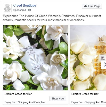 Facebook advertisement I created for House of Creed. I selected the theme, images and created the copy for this advertisement. In addition, I selected the target market.