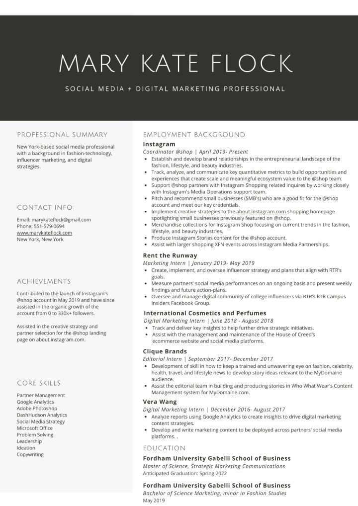 MKF resume summer 2020